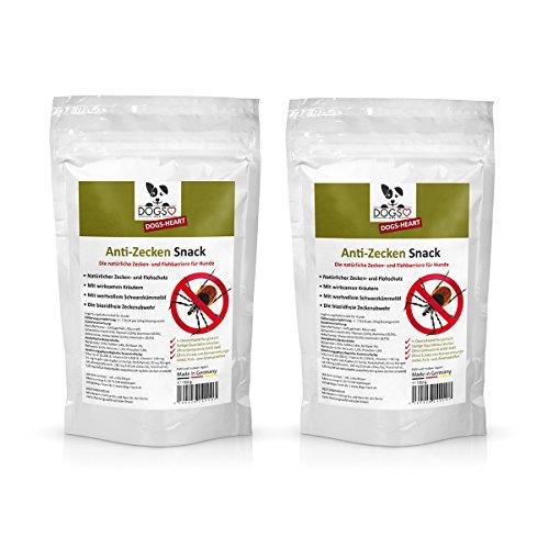 DOGS-HEART Anti-Zecken Snack für Hunde (2 x 150g) - Biologische Abwehr gegen Zecken, Flöhe und Milben - Auch für Welpen geeignet