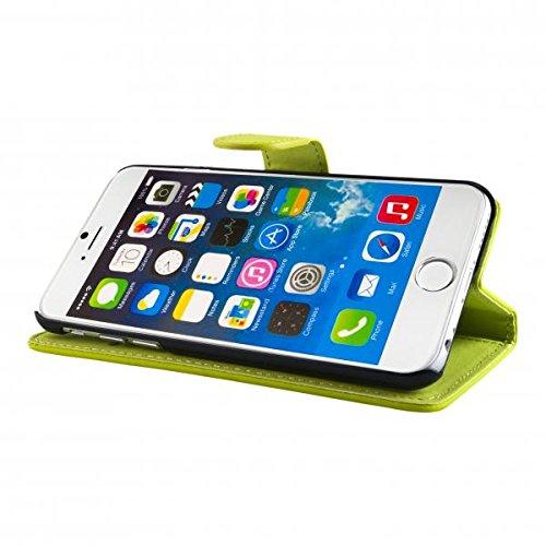 ECENCE APPLE IPHONE 6+ 6S+ PLUS (5,5) SCHUTZ HÜLLE HANDY TASCHE CASE COVER KLAPP HÜLLE WALLET BRIEFTASCHE BOOK-STYLE MIT STANDFUNKTION STANDFUSS 41010304 Grün gelb