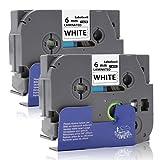 Labelwell 6mm x 8m Tze-211 Tze211 Tz-211 Schwarz auf Weiß Brother Ersatz Laminiert Selbstklebend Schriftband für Brother P-Touch D400 H100LB E100 H105WB D200BW P750W D600VP P750W Beschriftungsgerät