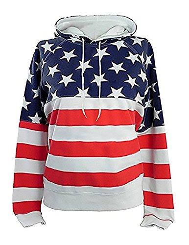 Felpa Donna Pullover Con Cappuccio Sweatshirt Manica Lunga Stella Usa Stampato Taglie Forti 3D Digitale Stampato Felpe Hoody Sciolto Moda Casual Rossi1