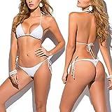 SHERRYLO 10 Solid Color Women's Thong Bikini Set String Bademode for S-XL Body (White)