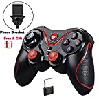 MallTEK Wireless Controller PS3 PC Smartphone Gaming Gamepad 2.4G / Bluetooth 2 Modes Gamepad Kabelloses für Android Smartphone / PC / PS3 / Smart TV / TV Box Spielkonsolen Joystick für Smartphone Sony Samsung huiwei etc mit Support (Schwarz + Rot)