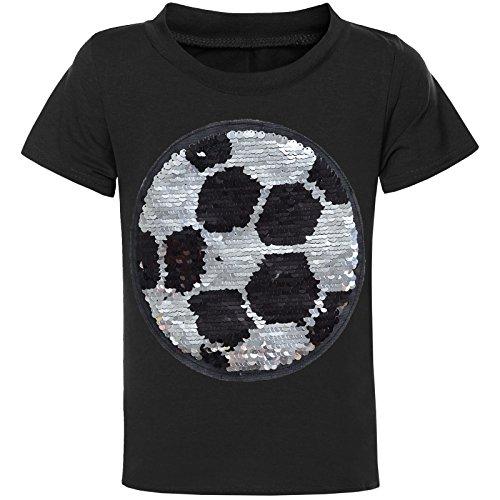 BEZLIT Jungen Wende-Pailletten T-Shirt Kurzarm Sommer Shirt Bluse Fußball Motiv 21329 Schwarz Größe 128