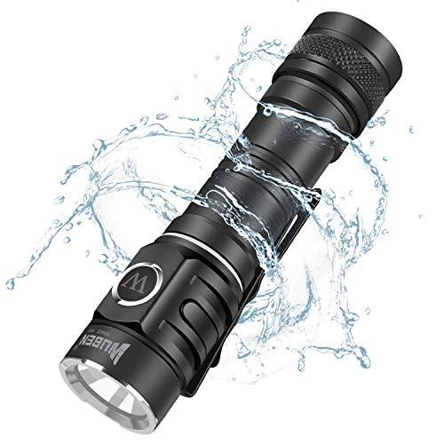 CREE XP-L LED Taschenlampe 900 Lumen 130 Meter 115 Stunden, IP68 Wasserdicht Taschenlampe (inkl. wiederaufladbar Batterie), Mini Taktische Taschenlampe für Campen, Wandern, Fahrradfahren und Notfälle