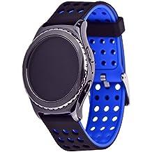 Greatfine 20MM Garmin Vivomove Sport / Garmin Vivomove Classic / Huawei Watch 2 Reemplazo liberación rápida Correa de reloj silicona hebilla pulsera para Samsung Gear S2 Classic SM-R732 / SM-R7320, Motorola Moto 360 2nd Generacion 42mm for men (Black Blue)