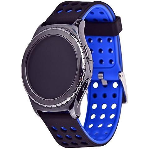 Greatfine 20MM Reemplazo liberación rápida Correa de reloj silicona hebilla pulsera para Samsung Gear S2 Classic SM-R732 / SM-R7320, Motorola Moto 360 2nd Generacion 42mm for men (Black