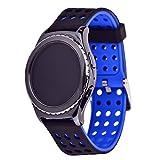 Greatfine 20mm Silikon Sportarmband Uhr Band Strap Uhrenarmband Erstatzband mit Metallschließe und Schnalle für Samsung Galaxy Gear S2 Classic SM-R732 R7320 Moto 360 2 42mm Smart Watch, Huawei Watch 2 / Samsung Gear Sport(Black Blue)