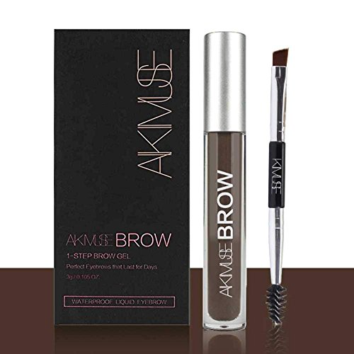 Sourcils Gel,ROMANTIC BEAR Waterproof Longue Durée Crayon de Maquillage Eyebrow Colors Gel With Brush Set,Anti-décoloration (Noir marron)