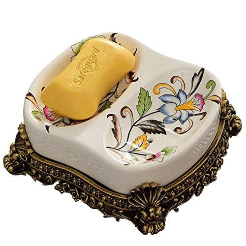 Amgend Europäische seifenkiste retro keramik bad seifenkiste badezimmer seifenschale manuelle ablauf soap ziehen badezimmer wc rack filter wasser, A - Keramik-soap