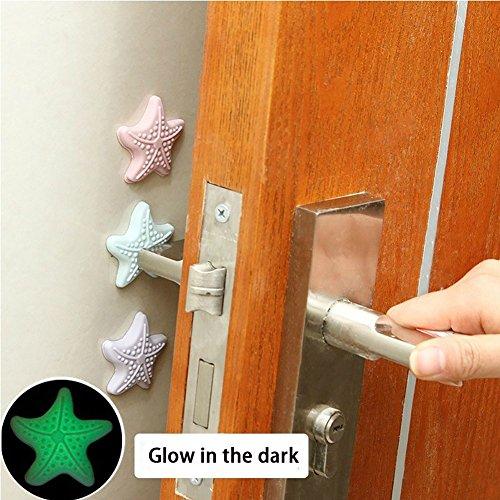 Tür Griff Bumper, selbstklebend Protektor Pad Luminous Seestern Wand Displayschutzfolie Guard Gummi Kissen Tür Stopper -