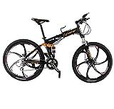 Extrbici VTT Pliant 26' FR100 Vélo Pliable de Montagne en Alliage d'Aluminium avec Suspenion Complète & Freins à disques & 24 Vitesses Shimano M310 Altus Vélo Ordinaire (UK Stock)
