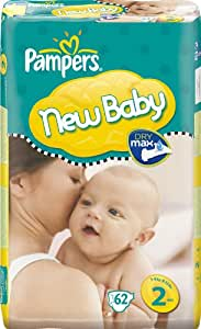 PAMPERS - 81272725 - Couches New Baby Taille 2 (3-6 Kg), Geant 2x62, 124 couches