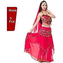 Bellyqueen - Traje profesional para danza del vientre / danza de la India, conjunto de 5 piezas, para mujer, rosa (b)