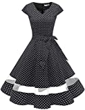 Gardenwed Damen Vintage 50er Cap Sleeves Retro Cocktailkleid Rockabilly Petticoat Faltenrock Hepburn Stil Abendkleid Black Small White Dot 2XL