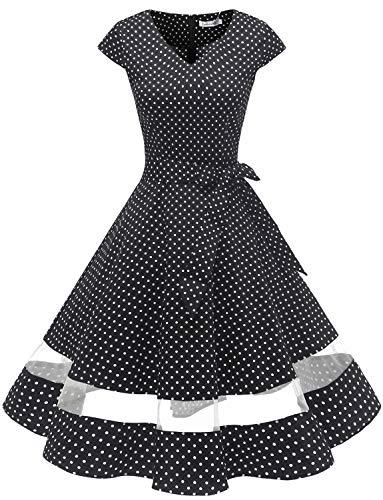 Gardenwed 1950er Vintage Retro Cocktailkleid Cap Sleeves Rockabilly Kleider Damen Schwingen Petticoat Faltenrock Black Small White Dot XS