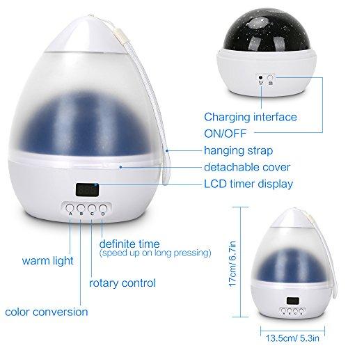 prezzo Luce Notturna LED per bambini LBELL Lampada Proiettore Stelle con Timer di Autospegnimento, 4 Colori LED, USB Cavo, Ruotabile Lampada da Comodino per Regalo di Natale