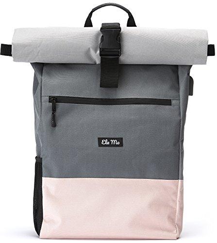 Ela Mo\'s Rucksack Damen | Schön und Durchdacht | für Uni Reisen Freizeit Job | mit Laptopfach & Anti Diebstahl Tasche | Rosa