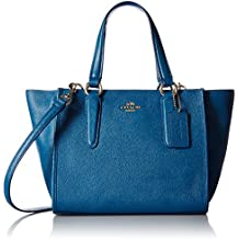 COACH-Bolso, diseño de mujer, cierre con cremallera, correa al hombro extraíble, color azul denim-Female