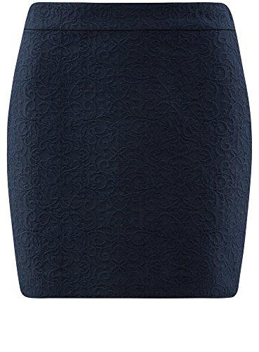 oodji Ultra Damen Gerader Kurzer Rock Blau (7900N)