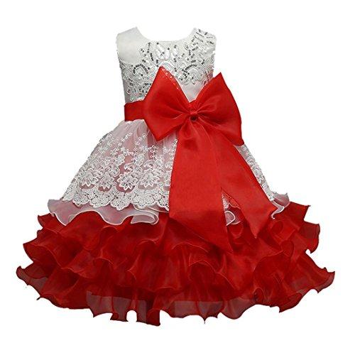 (Longra Kinder Mädchen Kleid Festlich Kleid Ärmellos mit Blumen und Spitze Prinzessin Kleid Knielang Brautjungfer Festkleid Festzug Hochzeit Partykleid (Red, 125-130CM 6Jahre))