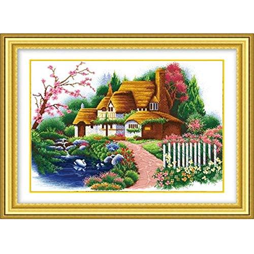 Neu Pure Handgefertigte Kreuzstich Fertig Traum Cottage Fantasy-Haus Europäischen Und Amerikanischen Stil Restaurant Wohnzimmer Schlafzimmer Dekoration 80 * 55Cm