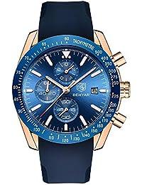305f0d9ef1cb BENYAR Mens Relojes Cronógrafo Analógico Cuarzo Reloj Hombres Impermeable  Deporte Reloj de Pulsera de Silicona Dial