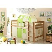 Preisvergleich für Hochbett Joy inkl Vorhang Buche massiv natur TUEV EN 747-1 + 747-2 Kinderbett Spielbett Massivbett Kinderzimmer Bett Holzbett Bettgestell