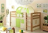 Hochbett Joy inkl Vorhang Buche massiv natur TUEV EN 747-1 + 747-2 Kinderbett Spielbett Massivbett Kinderzimmer Bett Holzbett Bettgestell