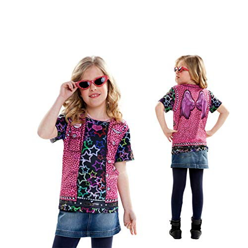 viving Kostüme viving costumes231100 Rockstar Girl Short Sleeve T-Shirt (4-6 Jahre, One - Country Girl Kostüm Kinder