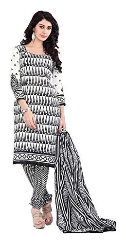Saranya Sarees Women's Cotton Unstitched Dress Material (White)