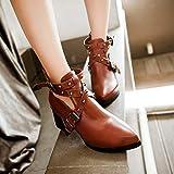 Ausverkauf Junjie Mode Retro Damen Klassische Stiefel mit Blockabsatz Nieten Gürtelschnalle Schuhe Spitze Zehe Starke Ferse Kurze Stiefel PU Schwarz, Rot, Gelb