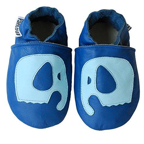 PantOUF Scarpe per bimbo in pelle morbida-Scarpine Neonato in Pelle - Scarpe Primi Passi - Scarpette Neonato Blu con un elefante