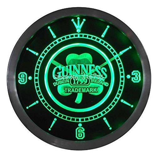 Guinness Kleeblatt Bier LED Neon Wanduhr Werbung Grün (Led Schilder, Bier)