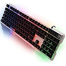 Sades Gaming Tastiere K7 Luce lingua Gaming USB della tastiera 7 commutabile retroilluminazione colori, 104 Keys Gaming Keyboards (bianco)