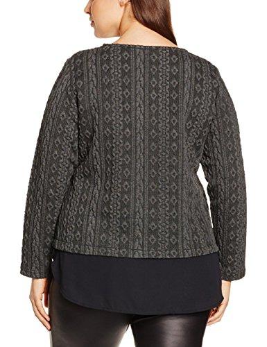 Ulla Popken Damen Sweatshirt mit Chiffon-Besatz Große Größen Grau (grau 11)