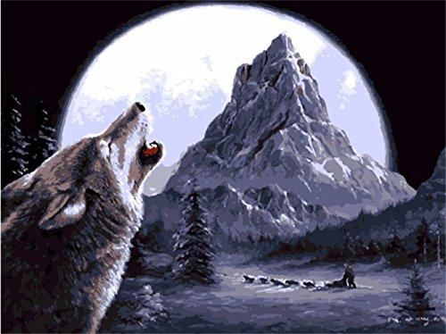 obella Malen nach Zahlen Kits || Moonlight Wolf Howl 50x 40cm || Malen nach Zahlen, DIGITAL Ölgemälde, (Kit Kuh Zubehör)