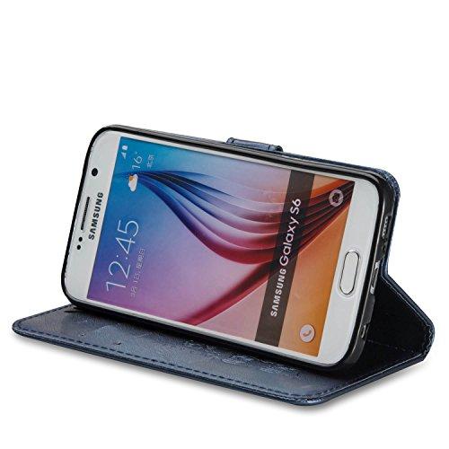 Für Samsung Galaxy S6 Premium Leder Schutzhülle, weiche PU / TPU geprägte Textur Horizontale Flip Stand Case Cover mit Lanyard & Card Cash Holder ( Color : Brown ) Blue