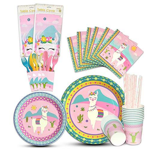 WERNNSAI Llama Geschirr Set - 146 PCS Alpaka Party Zubehör für Mädchen Geburtstag Baby Shower Inklusive Bestecktasche Tischdecke Platten Tassen Servietten Strohhalme Utensilien 16 Gäste