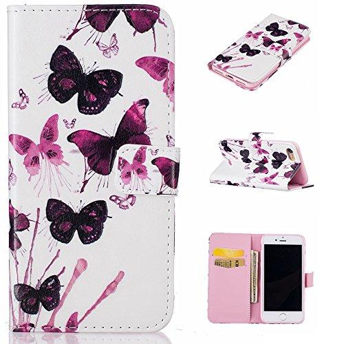 Ooboom® iPhone 6S/6 Plus Hülle Flip PU Leder Schutzhülle Handy Tasche Case Cover Wallet Standfunktion mit Kartenfächer Karte Halter für iPhone 6S/6 Plus - Hirsch Schmetterling Lila