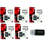 5 Pack of Kingston 16GB MicroSD HC Class 4 TF MicroSDHC with SD Adapter TransFlash Memory Card SDC16/GB 16G 16 GB Gigs (Lot of 5) with Everything But Stromboli Memory Card Reader R