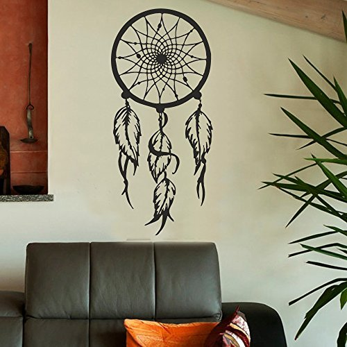 """Adhesivo decorativo para pared de vinilo Decor Atrapasueños, Atrapasueños adhesivo para pared pared D ¨ ¦ cor Bohemian dormitorio pared D ¨ ¦ cor (22""""H x10"""" W, Negro)"""