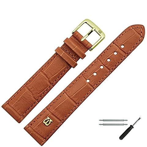 Uhrenarmband 12mm Leder braun matt Prägung, Alligator - inkl. Federstege & Werkzeug - MADE IN GERMANY - Uhrband in Alligatoroptik - Marburger Uhrenarmbänder seit 1945 - matt goldbraun / gold