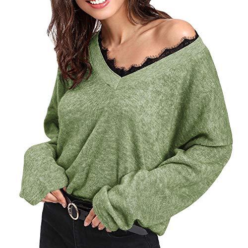 Produktbild TianWlio Langarmshirt Damen Bluse Frauen V-Ausschnitt Langarm Spitze Strickpullover Lose Pullover Jumper Tops