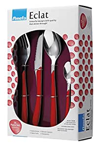 Amefa Eclat, Set di posate in acciaio Inox, 16 pz., Rosso (rot)
