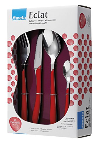 Amefa Eclat 2214RDWB17B60 Stainless Steel 16-Piece Handle Cutlery Set, Set of 16, Red