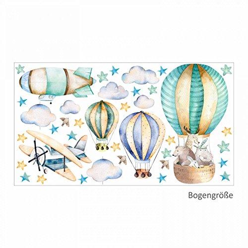 114 Wandtattoo Ballon mit Freunden - in 6 vers. Größen - Kinderzimmer Babyzimmer Sternenhimmel Aufkleber niedliche Sticker süße Wanddeko Wandbild Junge Mädchen Aquarell Größe 750 x 420 mm