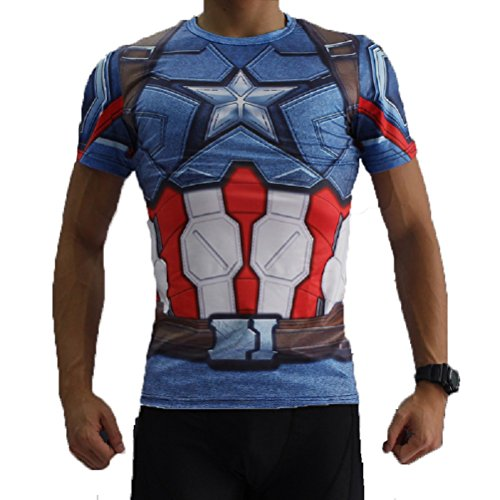 Born2RideTM Shirt im Superheld-Kostüm für Fitnessstudio/Radsport, Compression Baselayer T-Shirt mit kurzen Armen für Herren Gr. M, Captain