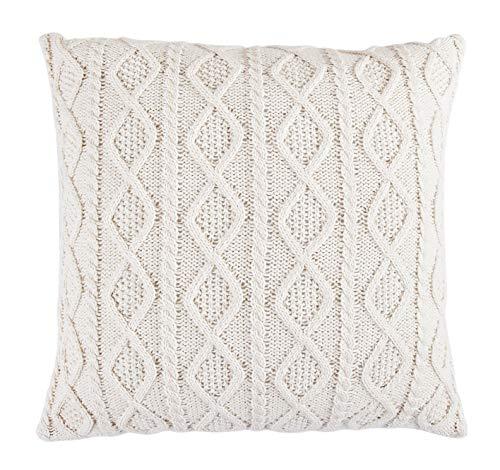HiEnd Accents Cable Knit Euro Sham, Cream - Cream Cable Knit