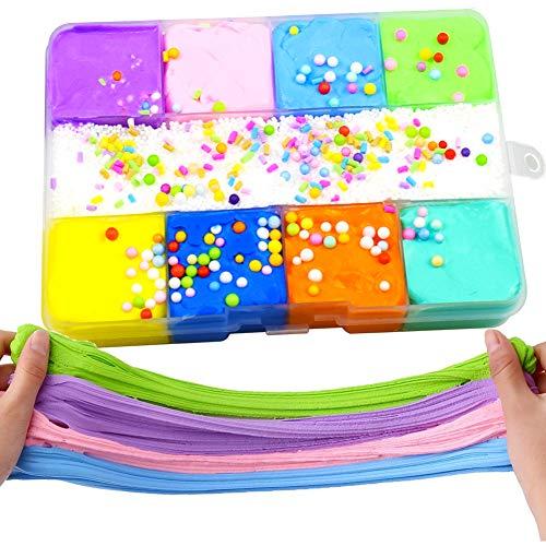 SWZY Flauschiger Schleim, Fluffy Putty Floam Slime Kit für Stressabbau Spielzeug Super weich und Nicht klebrig für Kinder Erwachsene, 9 Farbe Baumwollschleim -