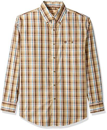 Button-down One Pocket Shirt (Wrangler Herren Men's Western Classic One Pocket Shirt Button Down Hemd, Brown/Khaki, Groß)